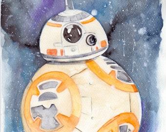BB-8 Watercolour A4 Print