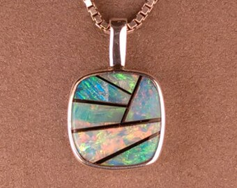 Australian Opal and Black Jade Sterling Silver Necklace Pendant