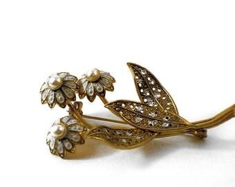 Vintage Damascene Flower Brooch Signed SPAIN U3629 Spanish Jewelry