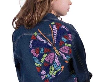 Girls' Dark Wash Hand-beaded Butterfly Jean Jacket