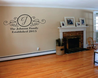 Wall Decor vinyl sticker / vinyl decal / wall decal / wall sticker - The Johnson Family (name and year of marriage)