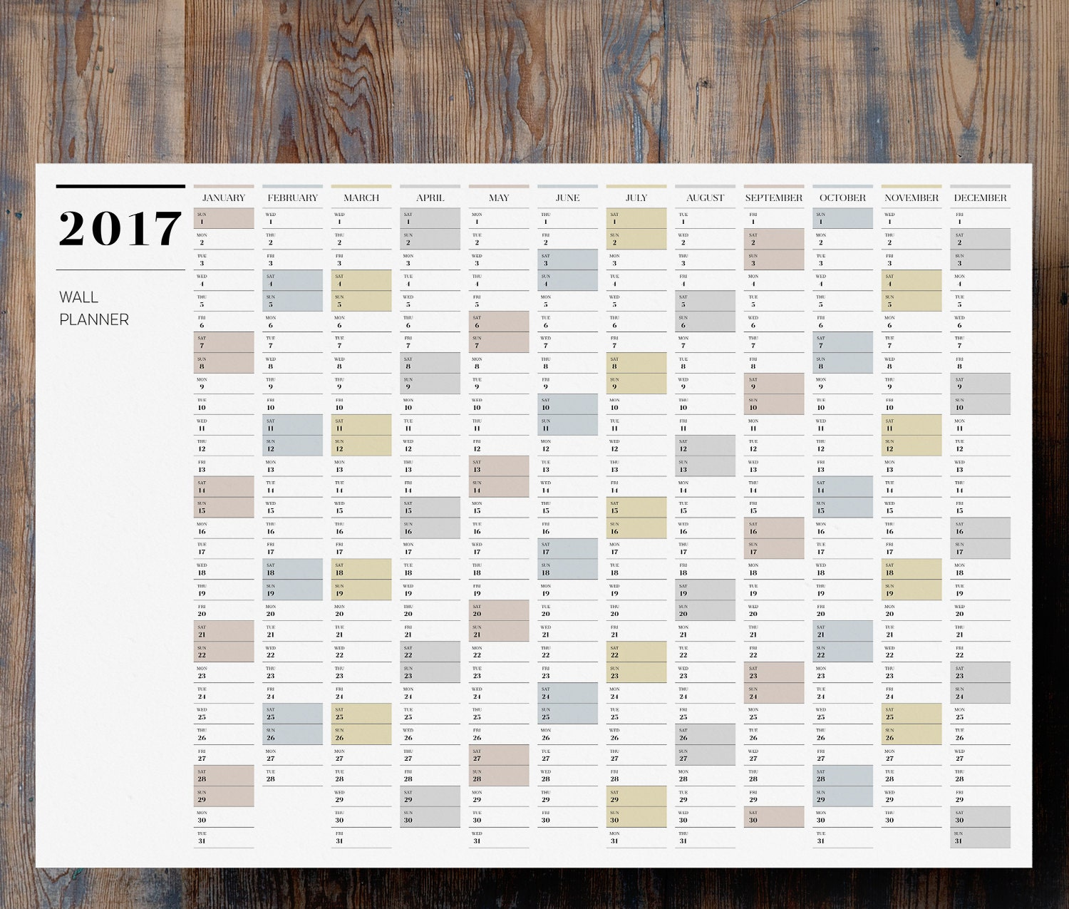 Printable PDF A2 Wall Planner 2017 Large Full Year By
