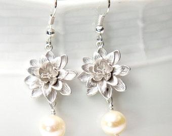 Silver lotus Earrings, with Swarovski Pearls. Silver Pearl Earrings. Pearl Flower Earrings.
