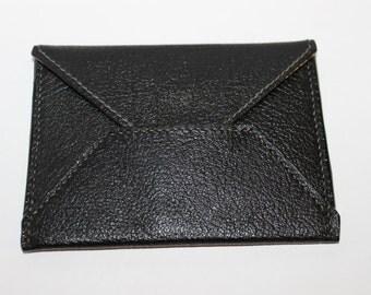 Leather Envelope Card Holder Wallet (Black)