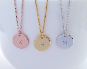 Personalized Necklace, Hand Stamped Letter Necklace, Initial Disc Necklace, Circle Pendant, Bridesmaid gift