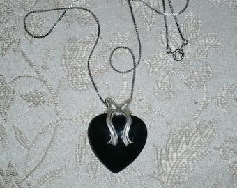 Black Onyx Heart Pendant Necklace