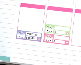 Happy or Sad Bill Due Reminder Label Cute Kawaii Vertical Erin Condren Planner Stickers Kikkik Funny Cute Phone Money Budget