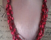 Red & Black edging Multi Strand Crocheted Ladder/Ribbon Yarn Necklace hypoallergenic light