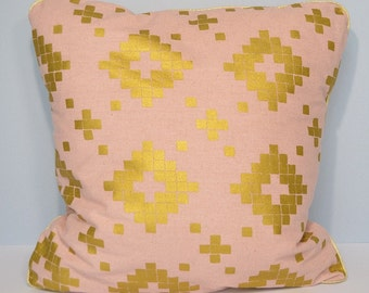 Cushion cover - pink Japanese fabric and Golden geometric patterns