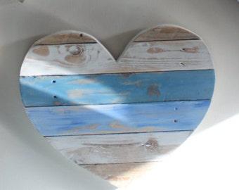 Shabby Chic Seaside Blue Reclaimed Wooden Heart