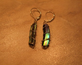Paua Abalone Dangle Earrings