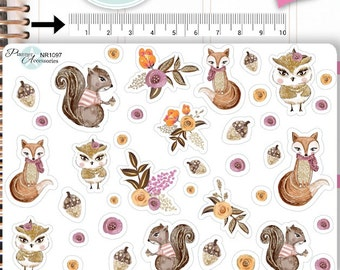 Woodland Stickers,Fall Stickers,Autumn Stickers,Fox Stickers,Owl Stickers,Squirrel Stickers, Animal Stickers,Planner Stickers NR1097