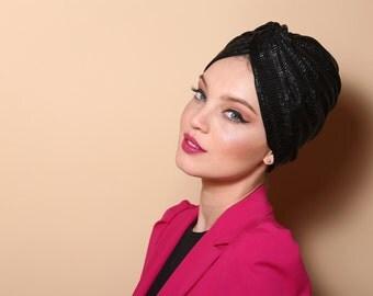 black  turban,twist turan, v turban, leather turban  ,turban hat,  head cover , Chemo hat,women's turban,modern hijab,fashion hair wrap