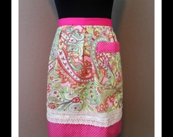 Pink and Green paisley with polka dots- vintage style half apron