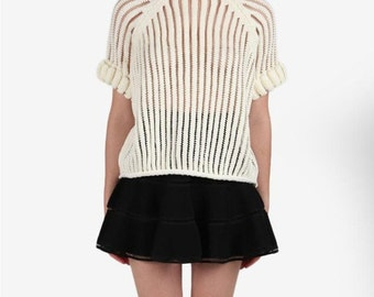 JOA Ivory Knit Mesh Top
