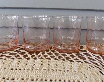 "Set of 4 Vintage Pink Swirl Glass Juice Drinking Glassware Barware 3 1/4"" Tall"