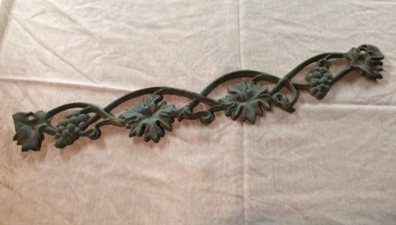 Vintage Cast Iron Door Window Topper Architectural Salvage Wall Decor Leaves Grapes Indoor Outdoor Cottage Garden