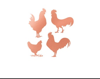 chickens rose gold foil clip art svg dxf file instant download silhouette cameo cricut