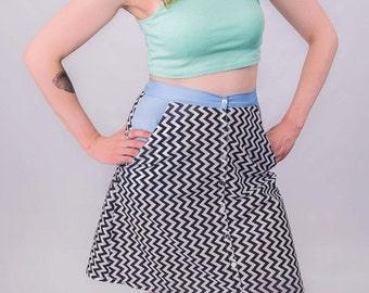 Chevron black and white print a-line skirt