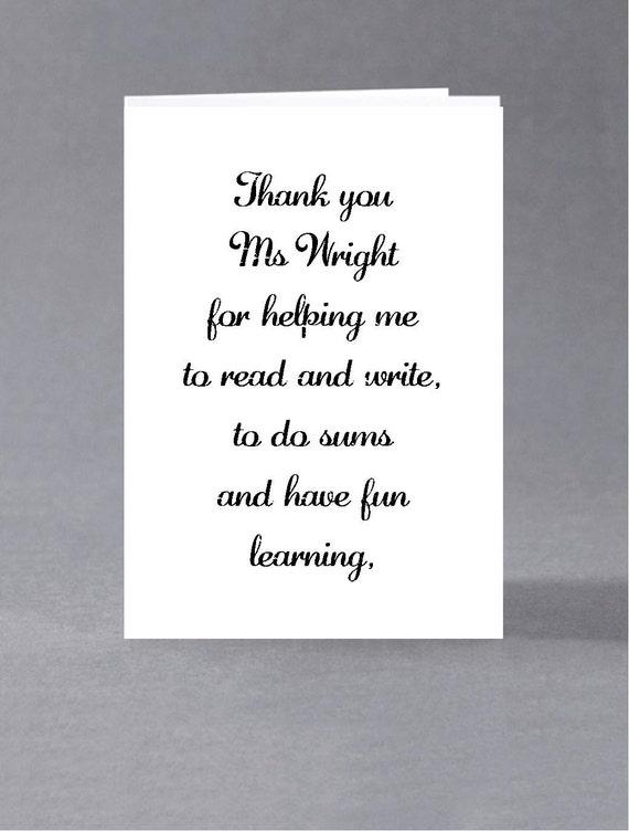 end of term teacher teaching assistant thank you card