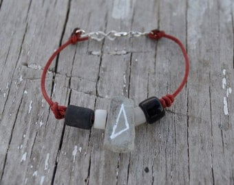 Handmade Leather Glass and Concrete Beaded Bracelet-Modern Native American Flare