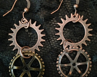 Bronze metal gear earrings, Steampunk
