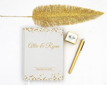 Wedding Guest Book Personalized Gold Guest Books Custom Guestbook Modern Wedding Gold Foil faux Script Glitter Wedding - White
