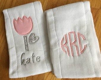 Monogrammed & Appliquéd Baby Girl Burp Cloth Set - Tulip