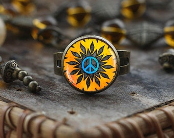 Hippie Peace sign ring, Hippie ring, Hippie jewelry, peace ring, peace jewelry, men's Hippie ring