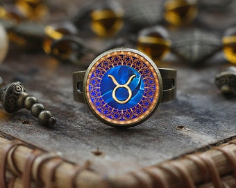 Taurus Zodiac ring, Taurus ring, Taurus Zodiac Jewelry, Taurus Zodiac Sign ring, Astrology ring