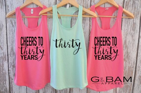 Thirty / Cheers to Thirty Years / Dirty Thirty Crew /  Birthday Tank top / 30th Birthday tank / 30th Birthday shirt