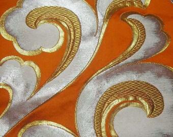 129: Vintage kimono/Obi/formal sash/silk fabric/embroidery/gold/silver/orange/arabesque pattern/wave/material/handmade
