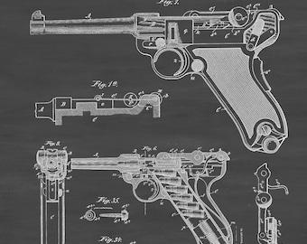 Luger Pistol Patent - Patent Print, Wall Decor, Gun Art, Firearm Art, Luger Patent, Pistol Patent, Pistole Parabellum 1908