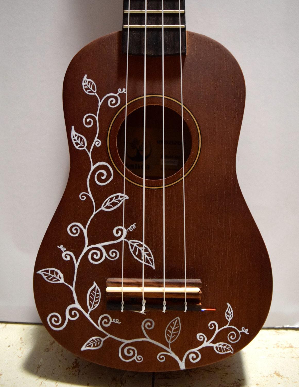 Soprano Ukulele With Hand Painted Design Vines By Ukeville