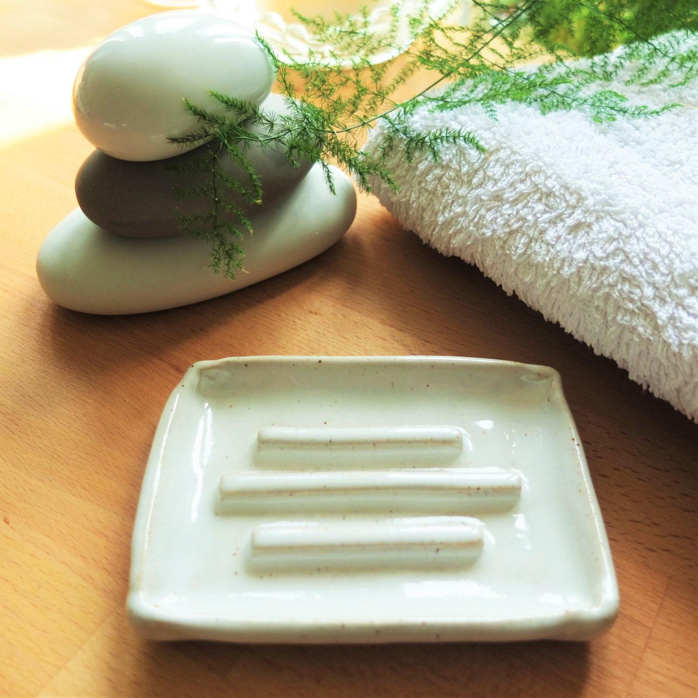 Handmade Ceramic Soap Dish White Soap Dish Bathroom
