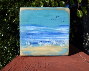 Ocean beach encaustic wax painting original mini 3.5x3.5 inches  #160201
