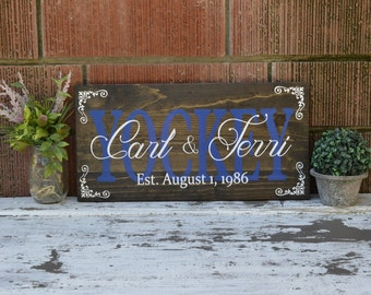 Personalized Family Name Sign Custom Painted on Dark Stained Wood Rustic Pallet Established Wooden Sign Establishment Plaque