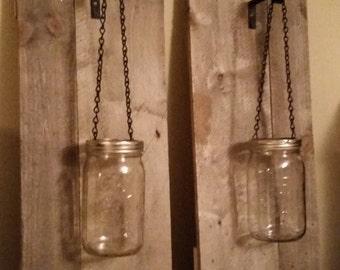 Pair of Rustic Mason Jar Wall Sconces