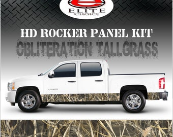 "Obliteration Tallgrass Camo Rocker Panel Graphic Decal Wrap Truck SUV - 12"" x 24FT"