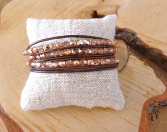 Leather wrap bracelet for women, Beaded wrap bracelet, Boho chic, Pink crystal & brown leather bracelet, Bohemian jewelry, Girl gift idea