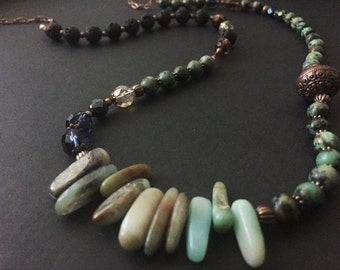 Necklace with African turquoise and mixed stones