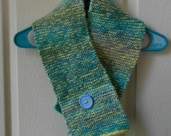 Yellow/Tidal blue knitted scarf