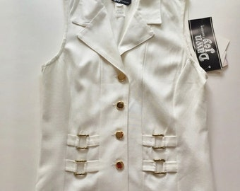 1980s Vintage Cream Vest Top, Gold Accents,  New With Tags