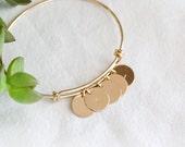 Gold Bangle Bracelet - Initial Bangle Bracelet - Custom Bangle Bracelet - Bride to be Gift - Gold Bangle - Gift For Her - Bridesmaid Gift
