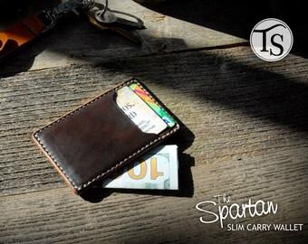 The Spartan - Slim, Minimalist Leather Wallet - Color: Dark Brown