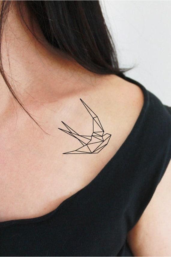 2 swallow temporary tattoos / origami temporary tattoo /geometric bird tattoo / outline tattoo