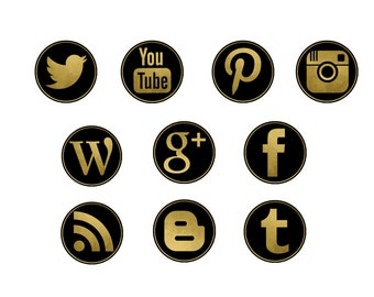 Social Media Icons, Gold and Black, Blog Icons
