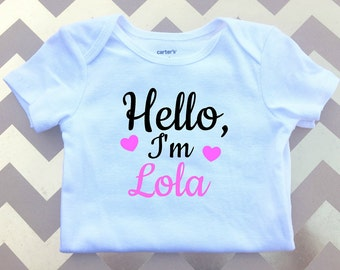 Personalized Baby Outfit, Baby Bodysuit, Hello baby clothes, Name baby clothing,Baby Shower Gift, Baby Clothing