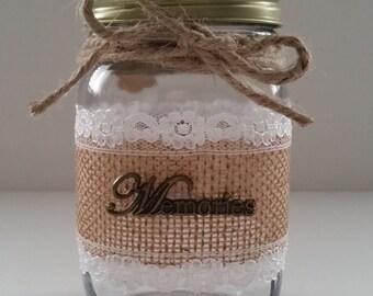 1 pint decorative mason jar - Memories