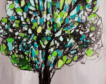 Poppins Tree acrylic painting on canvas